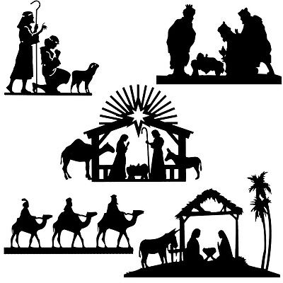 Die cut outs Silhouette Shapes Christmas, Xmas Nativity toppers set
