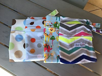 Waterproof Minky zippered wet bag for swimming cloth nappies MCN kids nappy bag