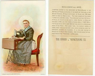 beautiful 1894 Boulogne-Sur-Mer France trade card - Singer Sewing Co