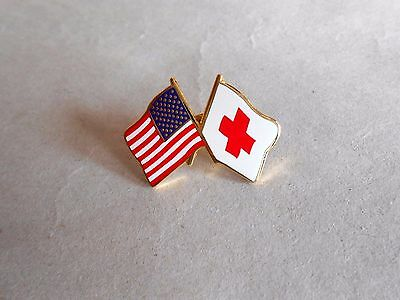 Vintage Crossed US Flag and Red Cross Flag Lapel Pin