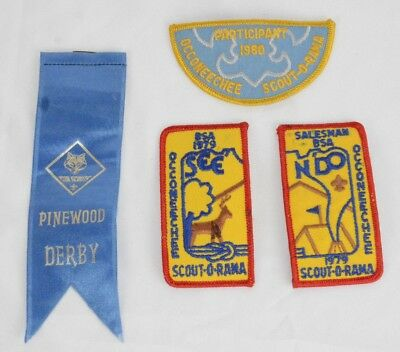 Vintage Boy Scout Patches 70's-80's lot BSA scout-o-rama Cub Scouts Derby ribbon