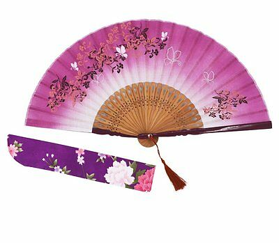 "Amajiji 8.27"" Beautiful hand-crafted Chinese Japanese hand held folding fan with"