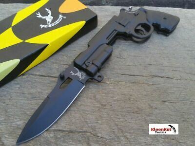 "8"" Black REVOLVER GUN TACTICAL Spring Assisted Open Pocket Knife w/ Lock Clip"