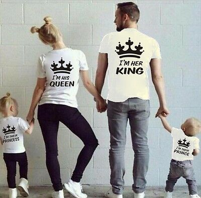 Couple T-Shirt King  & Queen & Princess & Prince - Family Love Matching Tee NEW