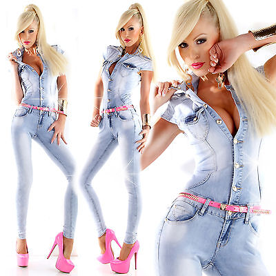 fb90ee4ac6 New Sexy Women Lite Blue Jumpsuit Ladies Overall 6 8 10 12 14 S M Jeans  Playsuit
