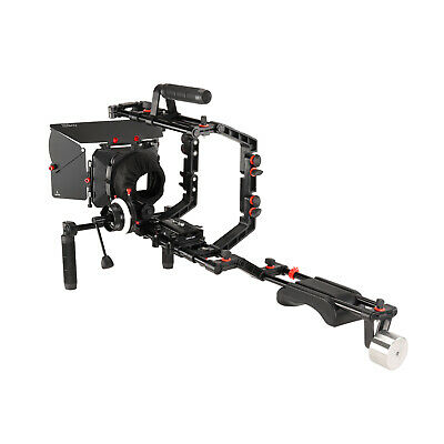 FILMCITY DSLR Camera Cage Shoulder Rig Kit with X1 Follow focus & matte box