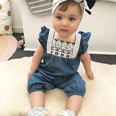 AU Newborn Infant Baby Girls Denim Bodysuit Romper Jumpsuit Harem Clothes Outfit