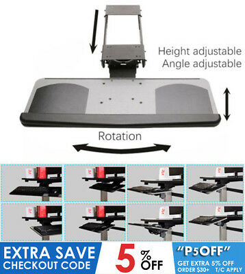 Height Angle Tilt Adjustable Rotation Keyboard Drawer Tray Office Comfortable