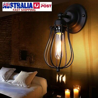 Industrial Black Iron Wall Light Adjustable Indoor Home Lamp Fixture Sconce Cage