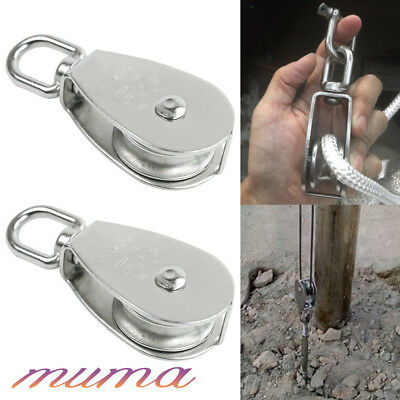 2PCS Heavy Duty Stainless Steel Lifting Rope Single Wheel Swivel Pulley Block UK