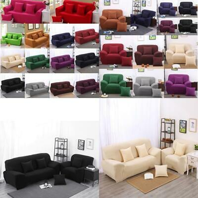 1/ 2/ 3 SEATER SOFA COVERS - Elastic Fabric Couch Settee Slipcover, SOLID COLOR