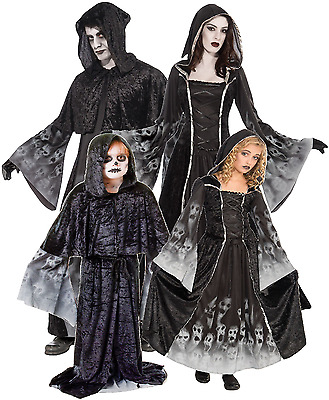Family Mens Ladies Kids Reaper Halloween Horror Group Fancy Dress Costume Outfit