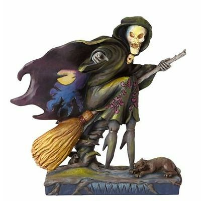 New Jim Shore Heartwood Creek Skeleton Witch Riding Broom