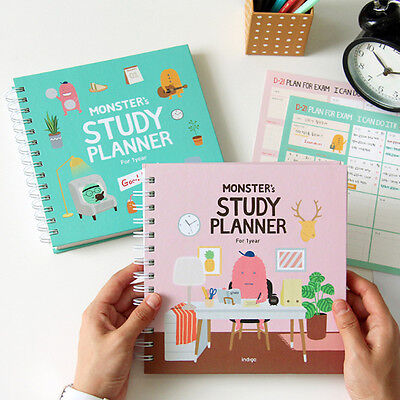 For 1 Year Monster's Study Planner Monthly Weekly Daily Academic Planner