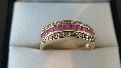 Gorgeous Genuine Bright Pink Natural Sapphire & Diamond Ring, Solid 9K Gold Sz N