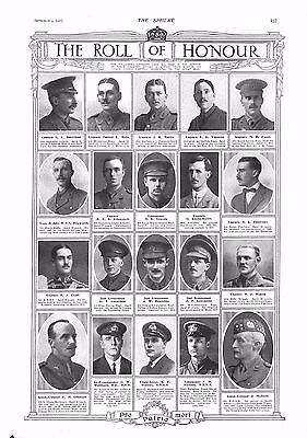 1915 Antique Print - Ww1- The Roll Of Honour #9