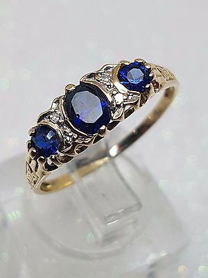 100% GENUINE 9ct Y/GOLD DIAMOND & BLUE OVAL STONE VINTAGE LOOK RING SIZE P