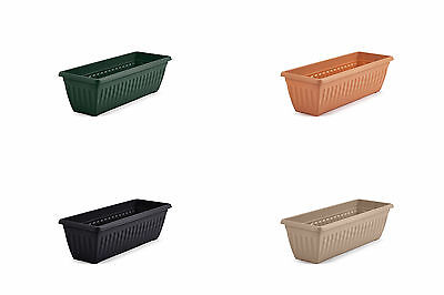 70cm Large Slim Window Box Patio Plant Pot Planter Plastic - Terracotta Taupe
