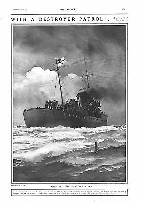 1915 Antique Print - Ww1- With A Destroyer Patrol