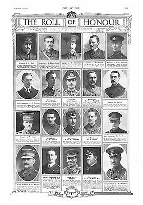 1915 Antique Print - Ww1- The Roll Of Honour #10