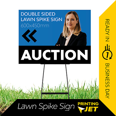 Double Sided Corflute Sign 45cm(w) x 30-60cm(h) / Lawn Spike Sign [5mm Thick]