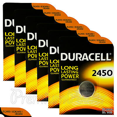 6 x Duracell Lithium CR2450 3V Coin Cell batteries DL2450 ERC2450 EXP:2025