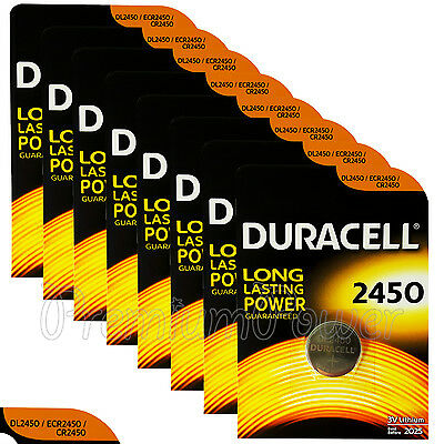 8 x Duracell Lithium CR2450 3V Coin Cell batteries DL2450 ERC2450 EXP:2025