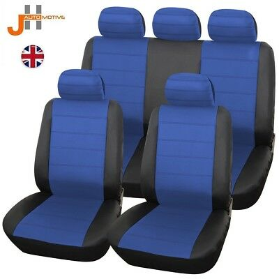 Chevrolet Aveo 08-11 Heavyduty Black & Blue Leather Look Seat Covers