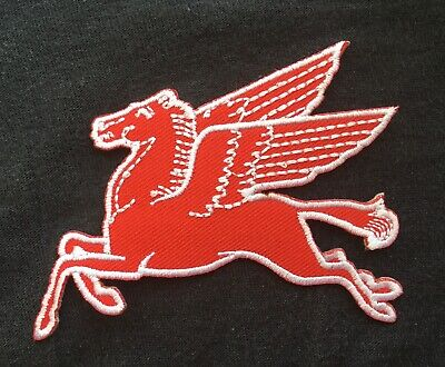 Red Pegasus Flying Horse Mobil Oil Gas Gasoline Petrol Badge Iron Sew On Patch