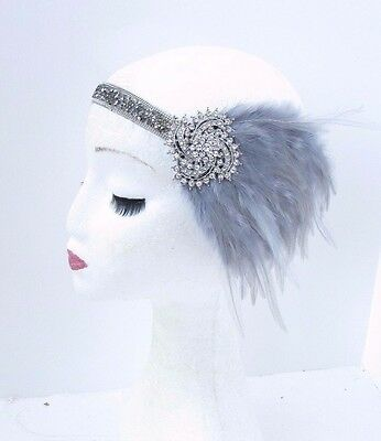 Dark Grey Silver Feather Headband 1920s Flapper Headpiece Great Gatsby Vtg 3724