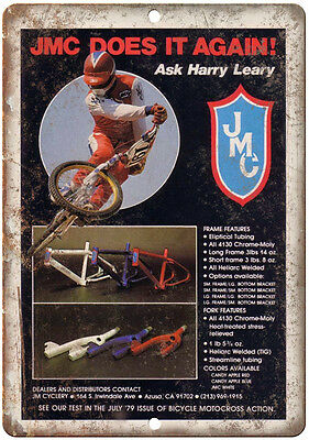 """10"""" x 7"""" Metal Sign - JMC BMX Harry Leary - Vintage Look Reproduction"""