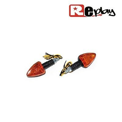 2 Clignotants Replay Triangle Universel Orange/noir Base Courte Maxiscooter