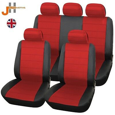Renault Megane Saloon 06-09 Heavyduty Black & Red Leather Look Seat Covers