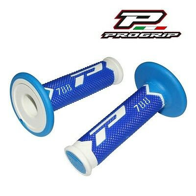 2 Revetements Poignée Progrip 788 New Blanc/bleu/bleu Clair Scooter Cross Enduro