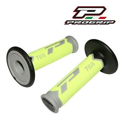 2 Revetement Poignée Progrip 788 New Gris/jaune Fluo/noir Scooter Cross Enduro