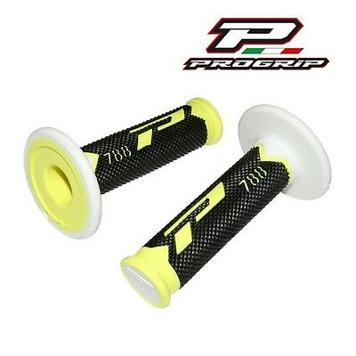 2 Revetement Poignée Progrip 788 New Jaune Fluo/noir/blanc Scooter Cross Enduro