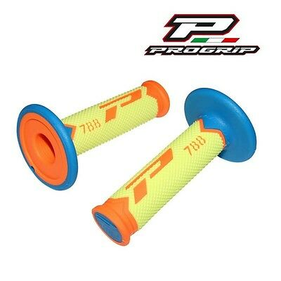 2 Revetement Poignée Progrip 788 New Orange Fluo/bleu/jaune Scooter Cross Enduro