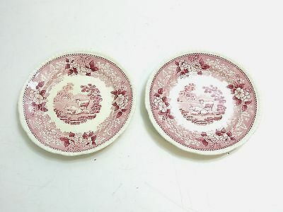 """Lot Of 2 Antique Adams """"english Scenic"""" Staffordshire Pink 6"""" Snack Bread Plates"""