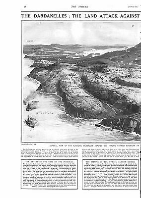 1915 Antique Print - Ww1- The Dardanelles, Attack On Krithia/achi Baba . 2 Pages