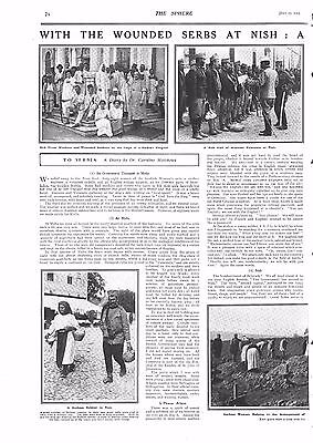 1915 Antique Print - Ww1- With The Wounded Serbs At Nish . 2 Pages