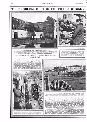 1915 Antique Print - Ww1- The Problem Of The Fortified House, 2 Pages