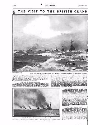 1915 Antique Print - Ww1- The Visit To The British Grand Fleet, 2 Pages