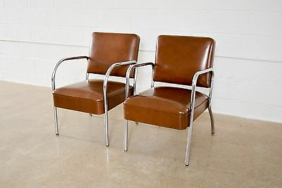 Mid Century Chairs Pair of Tubular Chrome Vinyl Club Chairs Royal Metal Co.