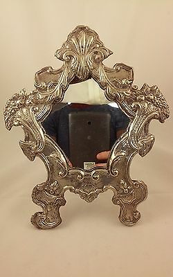 An Antique 18th Century Italian Silver Rococo Frame /Table Mirror, Palermo Italy