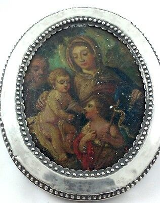 An Antique Italian Silver Frame with Miniature Oil Painting, Naples, Italy