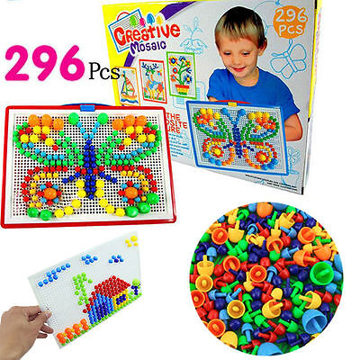 Mosaic Mushroom 296pcs  Plug Beads Puzzle Creative Game toy for Kids