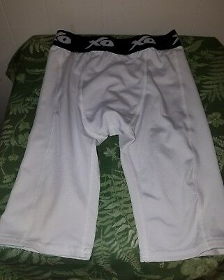 XO CS2 Compression Shorts BIG Boy's White with Cup Holder - Size 20-26