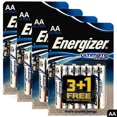 16 x Energizer Ultimate Lithium AA batteries 1.5V L91 LR6 MN1500 Camera EXP:2036