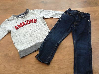 100%  Next Boys Small Bundle / Outfit 3Yrs Jeans Top