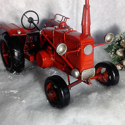 New Mancave HandPainted Red Metal Vintage Style Old Farm Tractor Figurine Decor